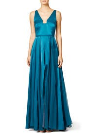 Teal Twirl Gown by Halston Heritage