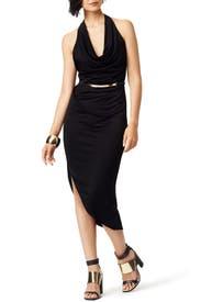 Black Scarface Dress by Halston Heritage