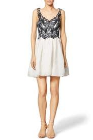 Contrast Silk Gazaar Dress by Marchesa Notte