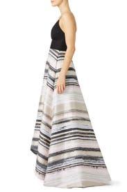 Neutral Stripe Gown by Badgley Mischka