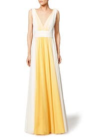Lemon Fade Gown by Halston Heritage