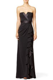 Tuxedo Ruffle Gown by Badgley Mischka for $100 | Rent the Runway