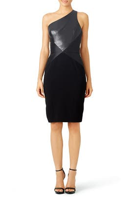 Leather One Shoulder Dress by Theia
