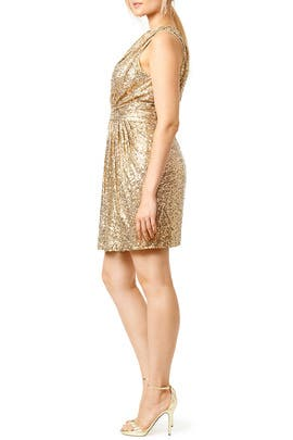 Draped in Gold Dress by Badgley Mischka