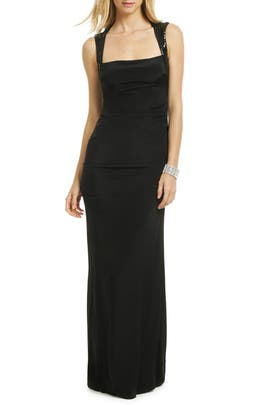 Nicole Miller - Black Open Back Sequin Gown