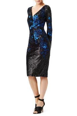 Badgley Mischka - Blue Blooms Dress