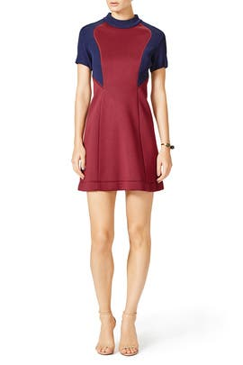 Burgundy Block Dress by Cedric Charlier