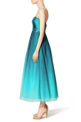 Ombre Teal Dress by ML Monique Lhuillier