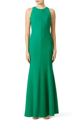 Emerald Crepe Cutaway Gown by Carmen Marc Valvo