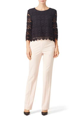 Black Rayna Lace Top by Rebecca Minkoff