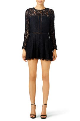 Dark Night Lace Romper by Cynthia Rowley