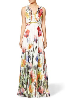 Badgley Mischka - Painted Petals Maxi Dress