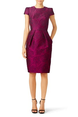 Magenta Floral Sheath by Carmen Marc Valvo
