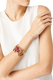 Pink Crystal Sea Swirl Bracelet by Oscar de la Renta