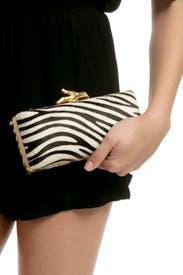 Zebra Tonda Pony Clutch by Diane von Furstenberg Handbags