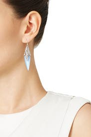 Blue Dangling Fractured Wire Earrings by Alexis Bittar