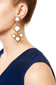 Multi Diamond Mosaic Earrings by Oscar de la Renta