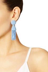 Periwinkle Short Tassel Earrings by Oscar de la Renta