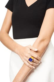 Blue Tessera Ring by Kenneth Jay Lane