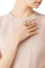 Gold Shadow Octagonal Stone Ring by Oscar de la Renta