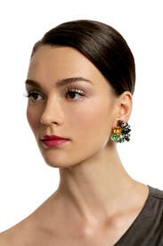 Emerald Confetti Cluster Earrings by Oscar de la Renta