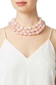 Trio Rose Quartz Necklace by Kenneth Jay Lane