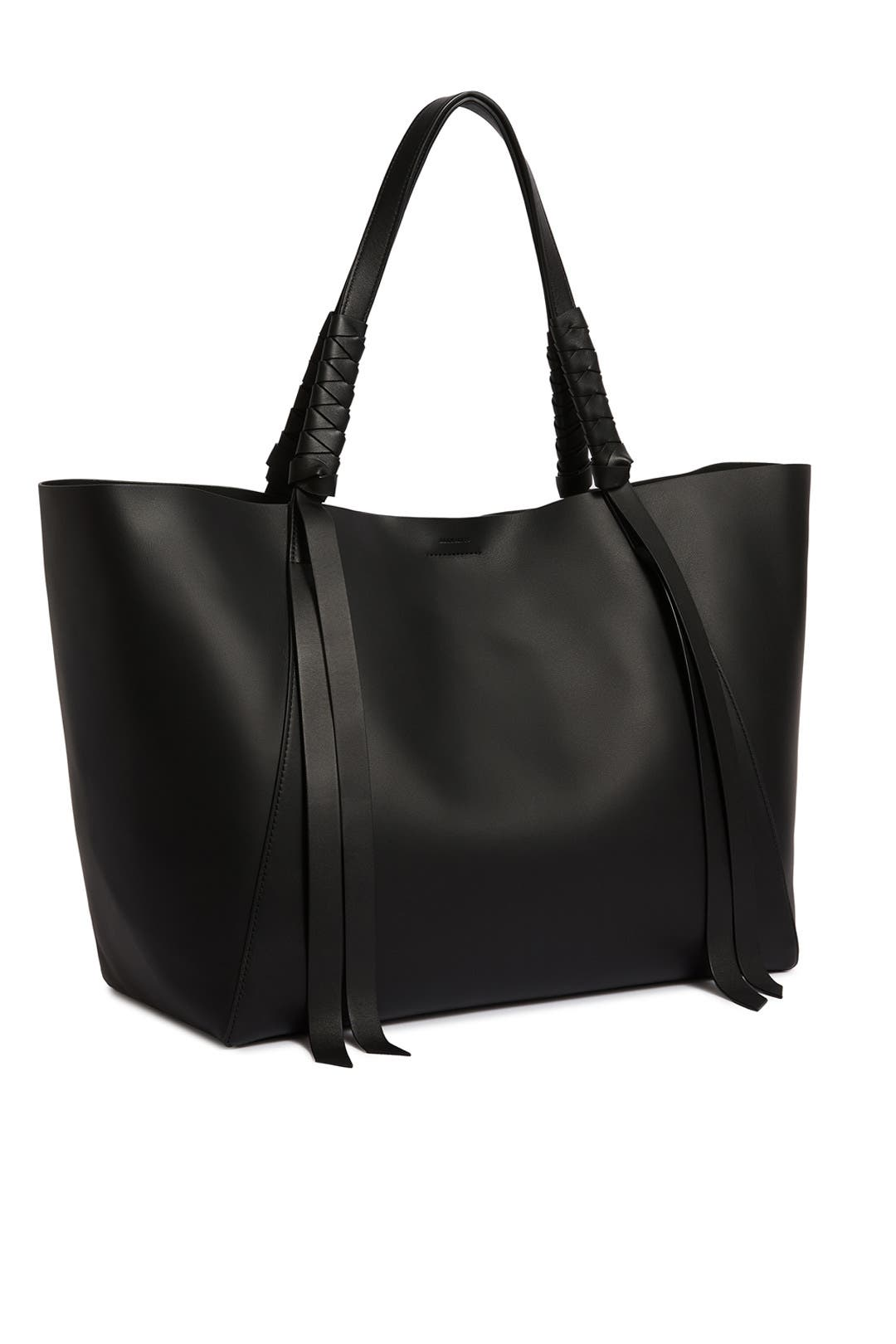 AllSaints Voltaire Large Leather Tote Bag Black MSRP $378 Women