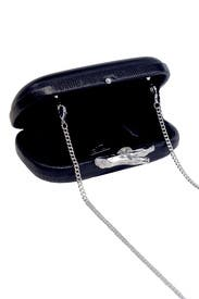 Black Lytton Embossed Lizard Clutch by Diane von Furstenberg Handbags