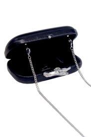 Black Lytton Embossed Lizard Clutch by Diane von Furstenberg Handbags
