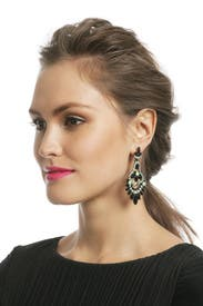 Jet and Jade Navette Earrings by Elizabeth Cole