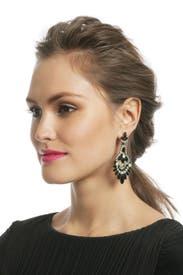 Jet and Jade Navette Earrings by Elizabeth Cole